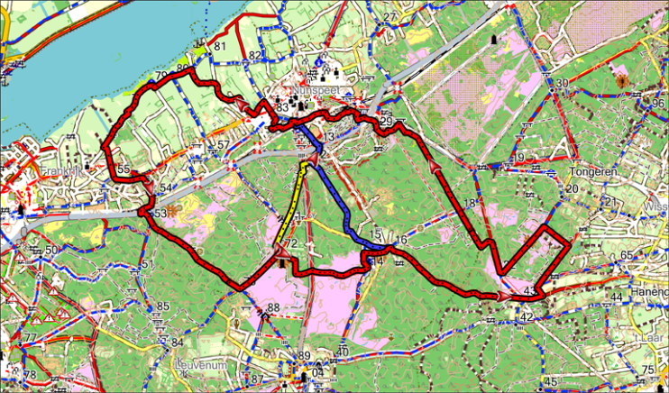 Combinatie fietsroute 27 - 33 of 50 km
