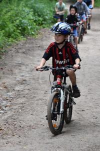 Leuk een clinic mountainbike voor ouder en kind.